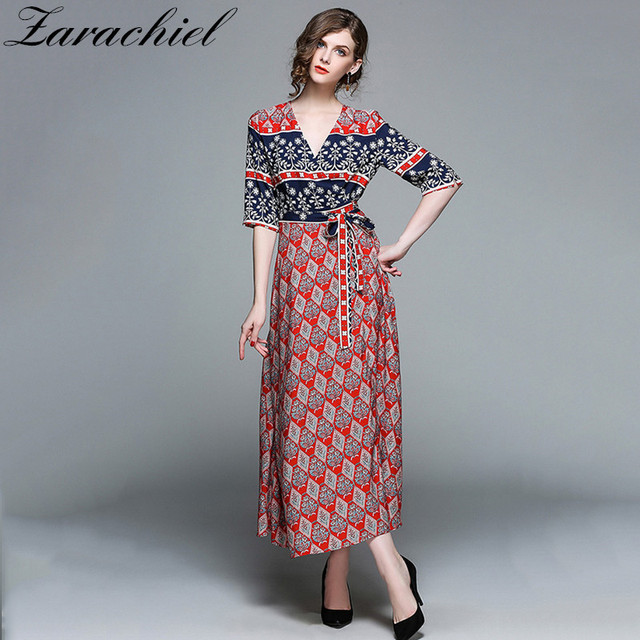 e25b0e826d8 Zarachiel 2018 Summer Boho Plus Size Floral Print Chiffon Beach Maxi Dress  Woman Sexy V Neck