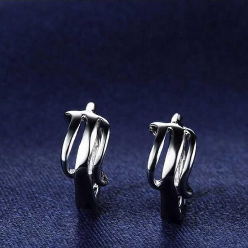 OMHXZJ Wholesale Jewelry geometric fashion kpop star for Woman gifts Thread 925 Sterling Silver buckle  hoop Earrings YS172