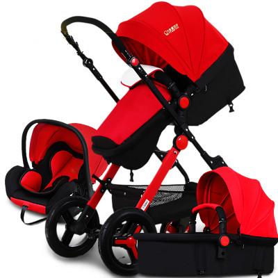Strollers can sit or lie multifunctional high landscape stroller bassinets send shock deck