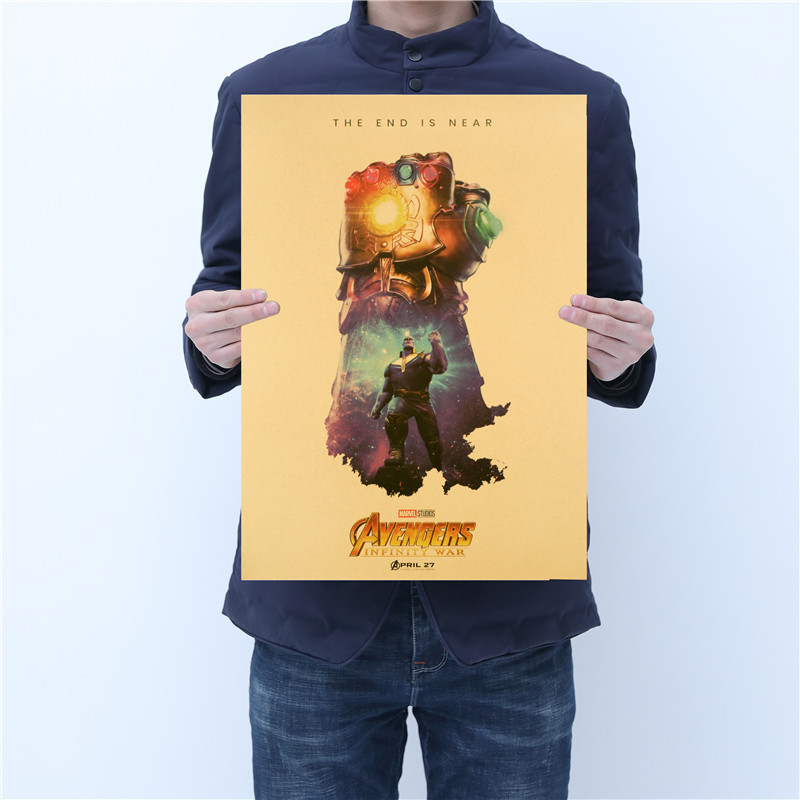 New Marvel Figures Toys Avengers DC Superhero Series Iron Man The Avengers Vintage Kraft Paper Home Decor Art Retro Prints Toy
