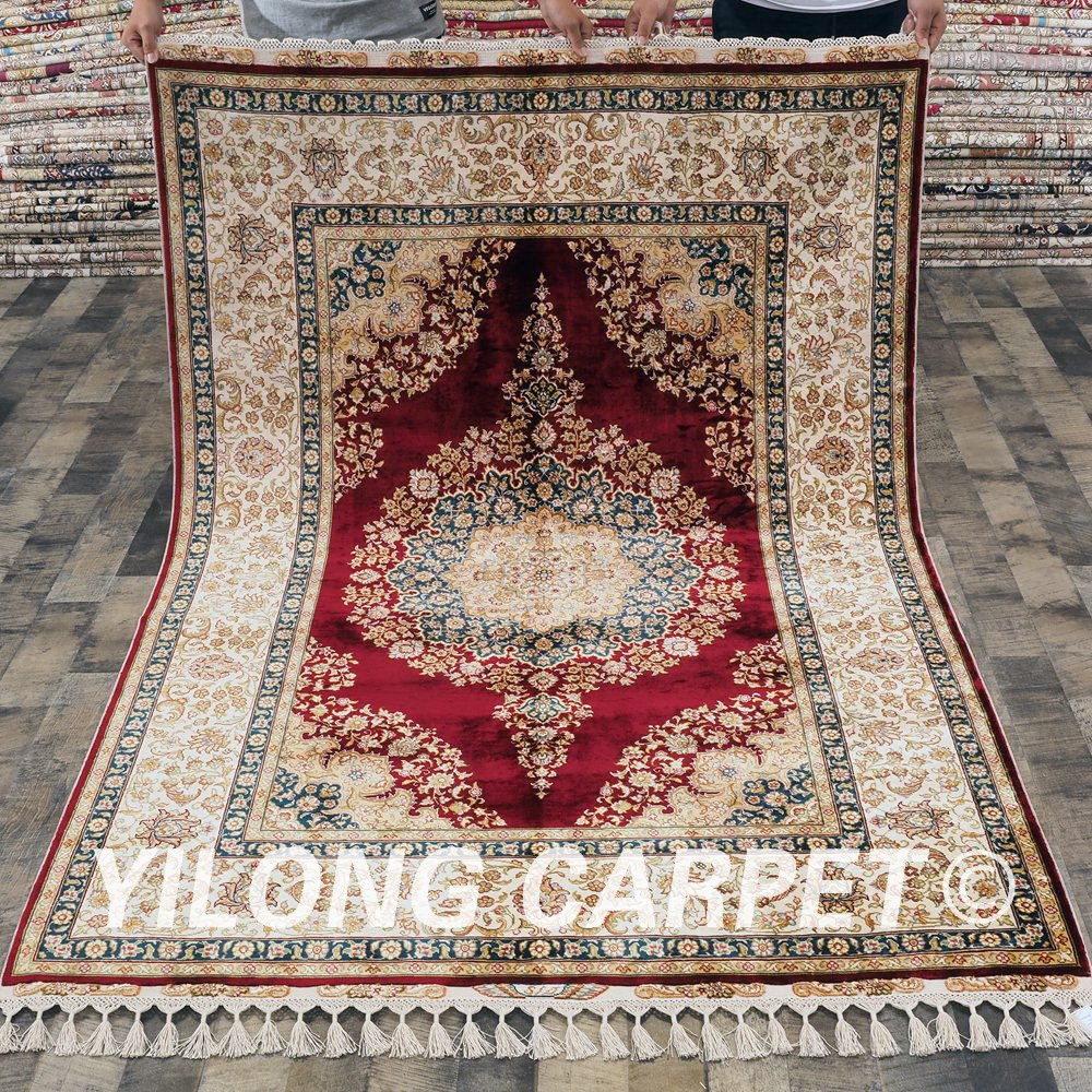 Oriental Rugs Out Of Style: Yilong 4.6'x6.7' Red Persian Oriental Hand Knotted Turkish