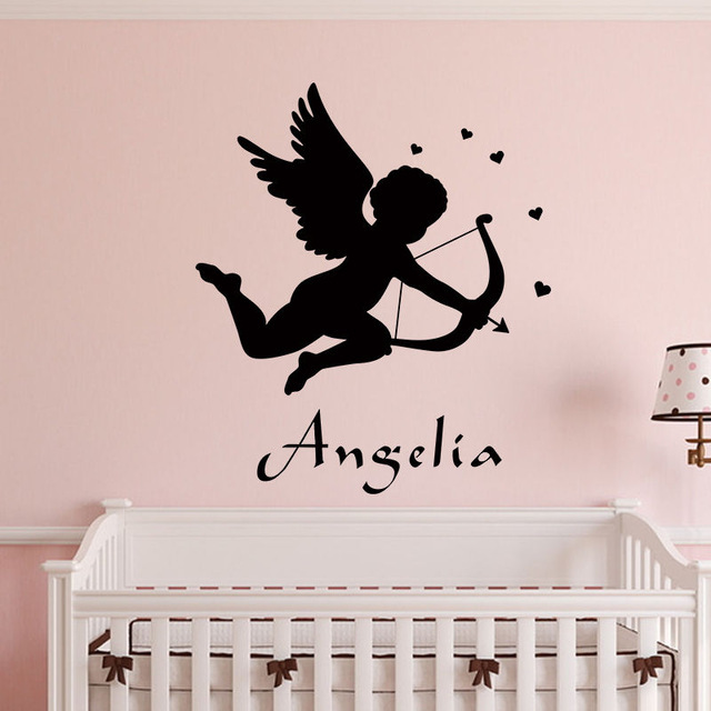 lovely new custom made personalized name cupid angel wall stickers