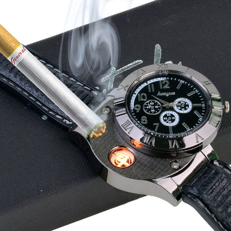 Povkeever 2 In 1 Rechargeable Watch Lighter Electronic Cigarette Lighter USB Charge Flameless Wrist Watches Lighter P25