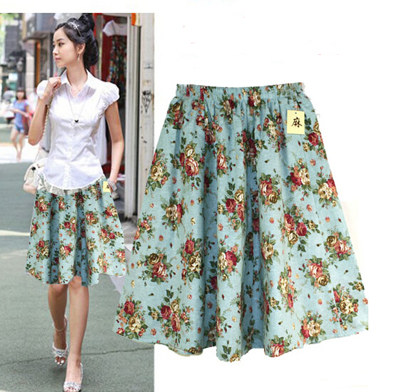 a0da84aaa2b 2015 Women Summer Cotton Linen Skirts Plus Size Vintage Casual Skirts  Bohemian Summer Knee Length Skirt Saias Femininas Skirts-in Skirts from  Women s ...