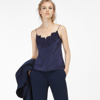 100% silk summer embroidery v neck sleeveless lace camis women tops blue black