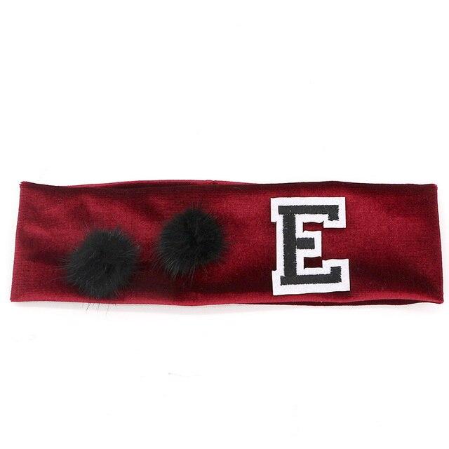 Bandeau élastique en velours pour filles   Bandeau solide en coton avec vrai vison fourrure Pom Poms en velours, accessoires pour cheveux