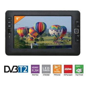 9 pulgadas coche portátil TV televisión DVB-T2 digital coche receptor de TV AV USB MP3 MP4 programa de TV de grabación