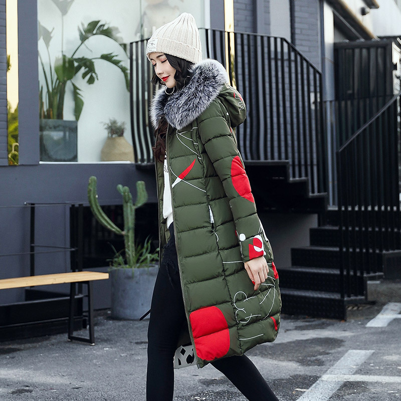 2017 Winter Coat Women Print Double-wear Parka Jacket Women Hooded Fur Collar Plus Size M-3XL Long Style Thick Warm Clothes double collar designed jacket earthy size l