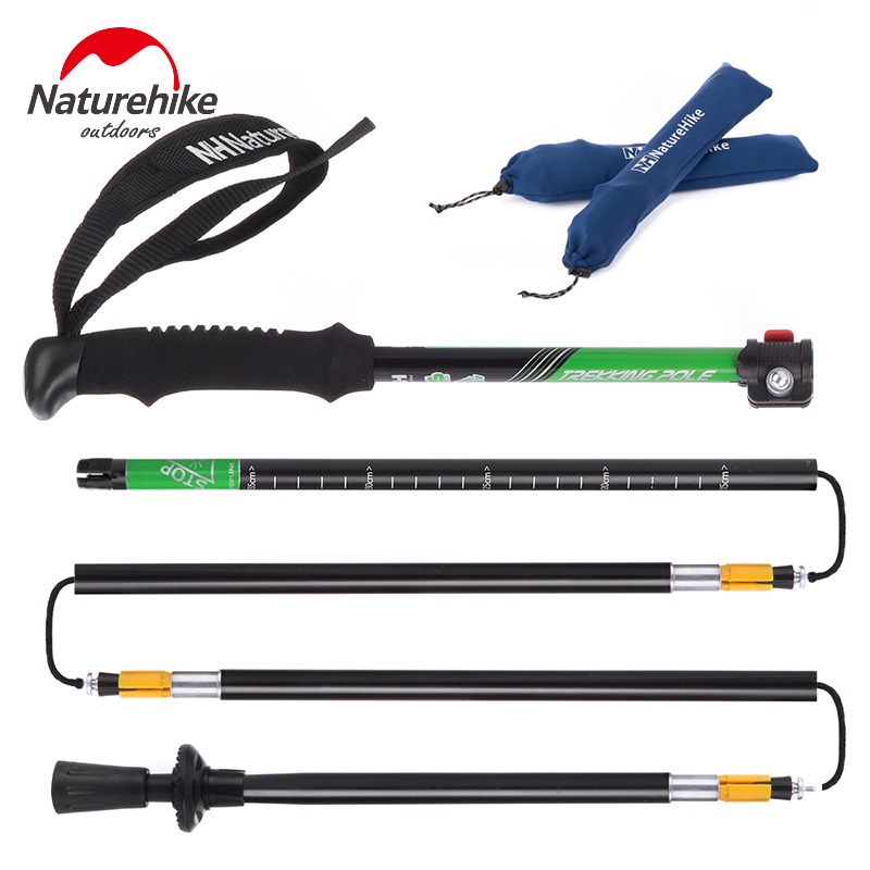 NatureHike Ultra-light EVA Handle 5-Section Adjustable Canes Walking Sticks Trekking Pole Alpenstock For Outdoor 1PCS