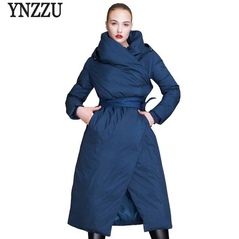 Brand Luxury 2018 Winter Women's Down Jacket Vintage Chic Wrap Long 90% White Duck Down Coat Thick Warm Hooded Outwears AO689