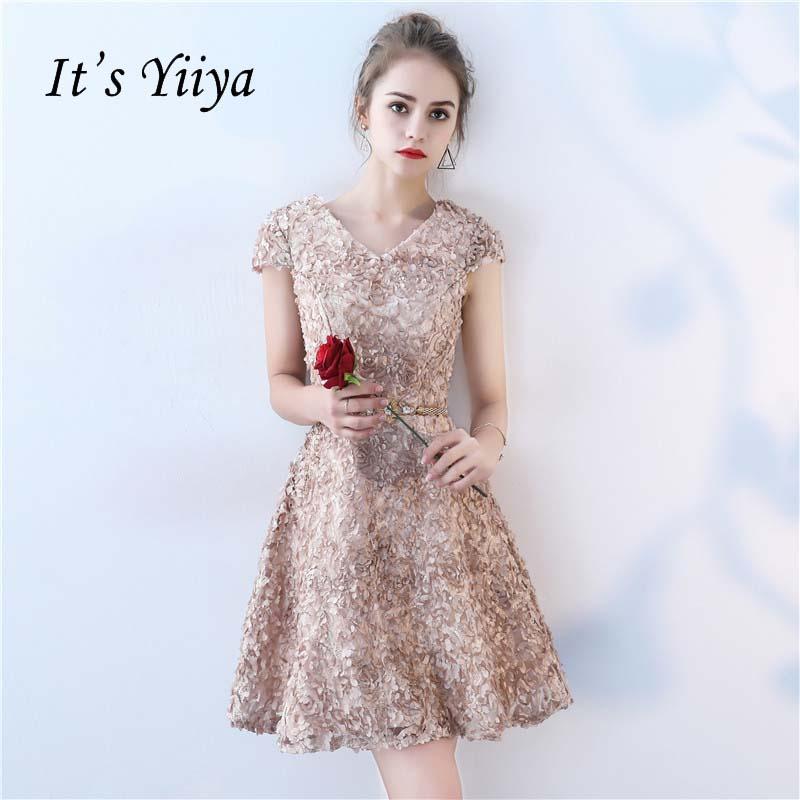 It's YiiYa New V-neck Short Sleeves Flowers Vintage Knee Length Dinner   Bridesmaids     Dresses   Zipper Party Short Formal   Dress   YS037