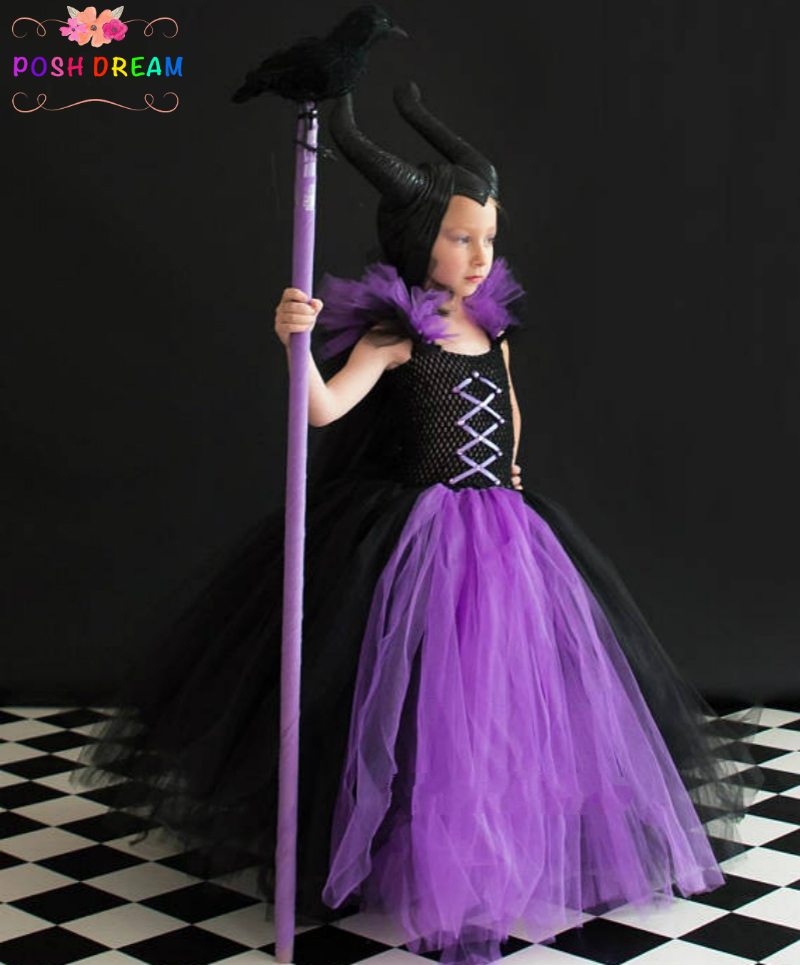 POSH DREA, Evil Witch Inspired Kids Girls Tutu Dress Purple and Black Witch Girls Cosplay Clothes for Halloween Party Birthday D scary black girl witch tutu dress baby girls evil cat girl cosplay floor train birthday party dress halloween holidays costume