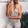 Everkaki 2017 Sexy Prata lantejoula bordado elegante macacão Sem Encosto playsuit shorts mulheres Sling profundo Decote Em V Party Club Roupas