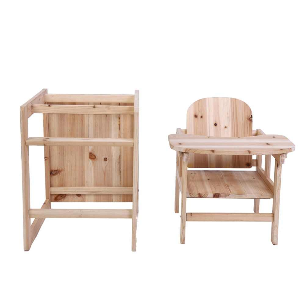 Wooden Baby High Chair Baby Feeding Chair Table Set Solid Wooden Detachable Highchair With Adjustable Tray