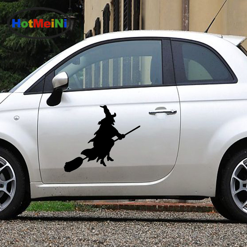 HotMeiNi 2 X Funny Cartoon Fairy Kingdom Witch Riding on A Broom Flying Car Sticker for Wall Door Home Decor Vinyl Decal 9 Color