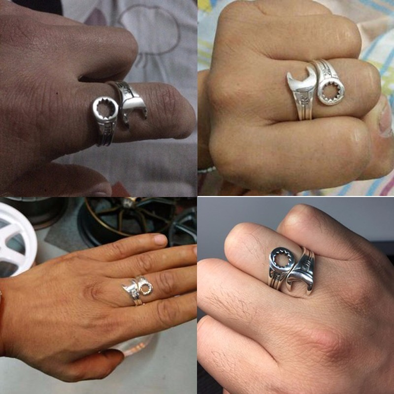 Image 5 - ZABRA Genuine Pure 925 Sterling Silver Cool Wrench Ring Men Adjustable Retro Love Vintage Punk Rings Women Biker Silver Jewelry-in Rings from Jewelry & Accessories