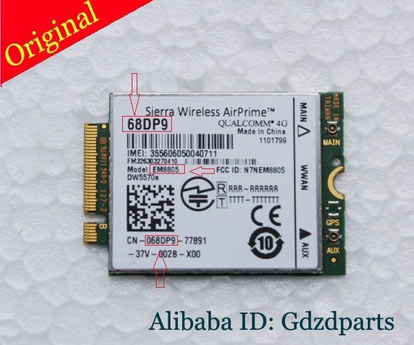 Sierra Wireless AirPrime 68DP9 Wireless wifi Card For Dell Venue 8 and 11 Pro# EM8805 WWAN - HSPA+ (NGFF) DW5570 DW5570E telit ln930 nrr39 ngff module card for dell wireless wifi dw5810e venue 11 pro 4g lte dc hspa wwan 4g high speed network card