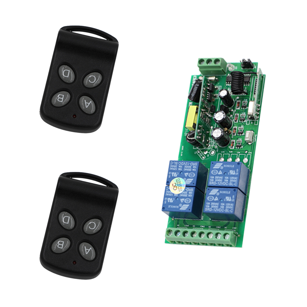 315MHZ 433MHZ 85V~250V AC 4CH RF Wireless Remote Control Relay Switch System With 2PCS Transmitter Garage Doors Electric Doors remote control compatible with accent garage doors cad602 b