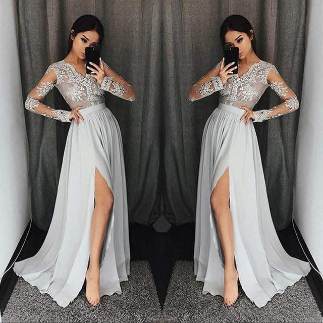 A-Line Long   Bridesmaid     Dresses   2018 Sexy Long Sleeve V neck Illusion Lace Appliques Floor Length Party Gowns Robe De Soiree