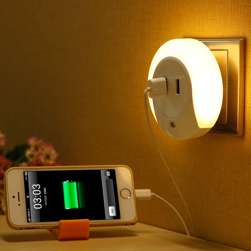 LED Night Light with 2 USB Port for Mobile Phone Charger Light Sensor Atmosphere For Bedroom Room Night Lamp Warm White CYD0001