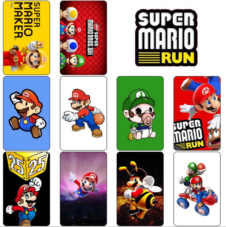 10PCS/Lot Cute Super Mario Card Stickers Protector Mario Figurines Stickers For Credit Bank ID Card Stickers 54*86MM