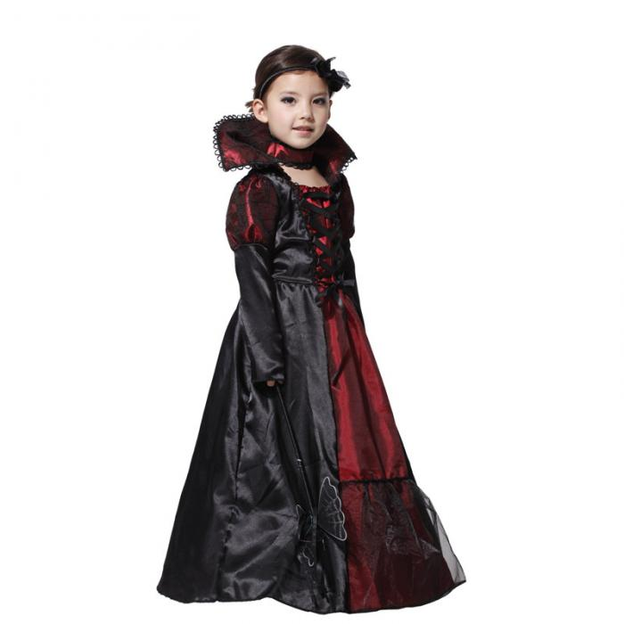 Halloween Dress Black Lace Queen Vampire Costume Kids Carnival Masquerade Party Fancy Costumes Girls's Dress 4