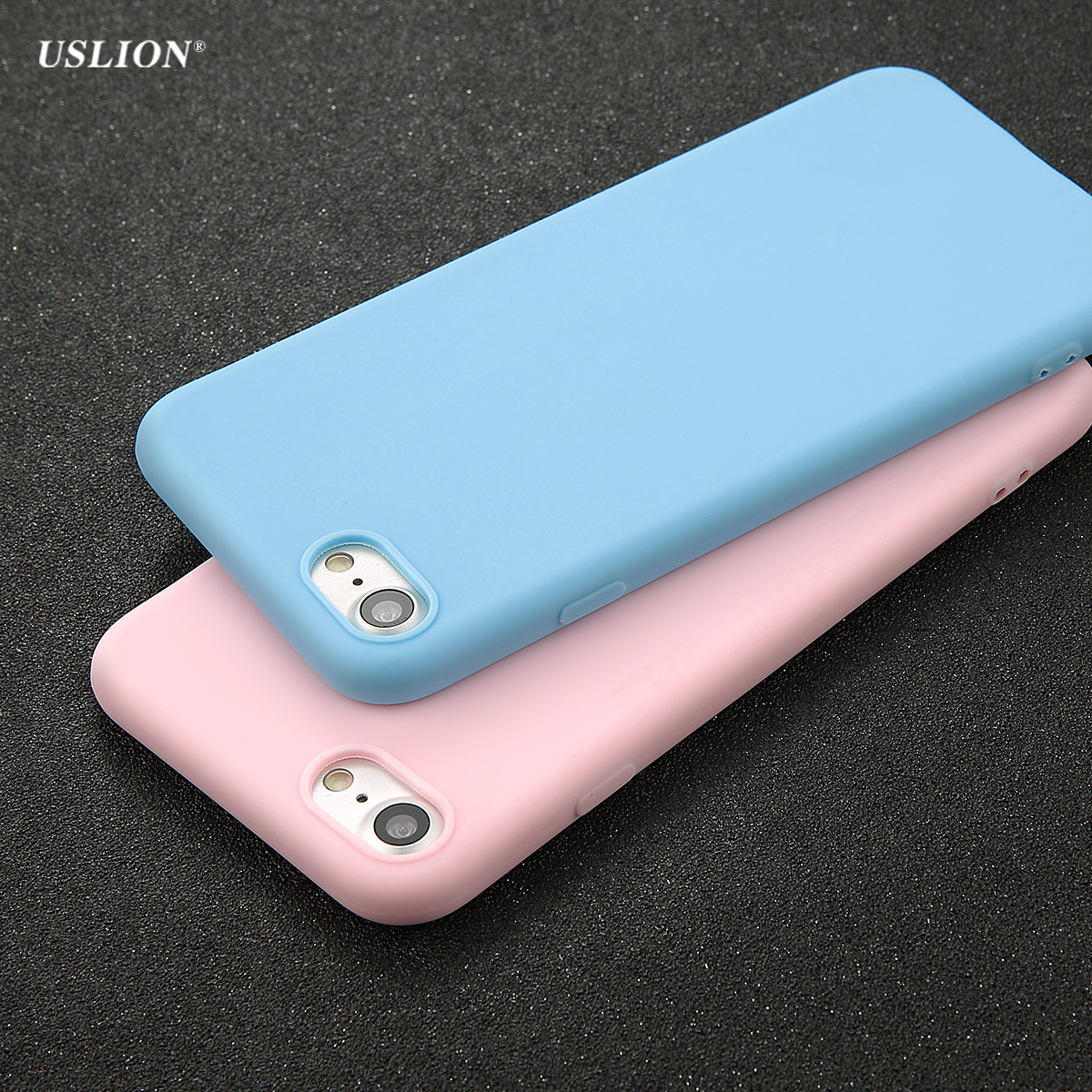 USLION Phone Case For iPhone 7 6 6s 8 X Plus 5 5s SE XR XS Simple Solid Color Ultrathin Soft TPU Cases Candy Color Back Cover baseus guards case tpu tpe cover for iphone 7 red
