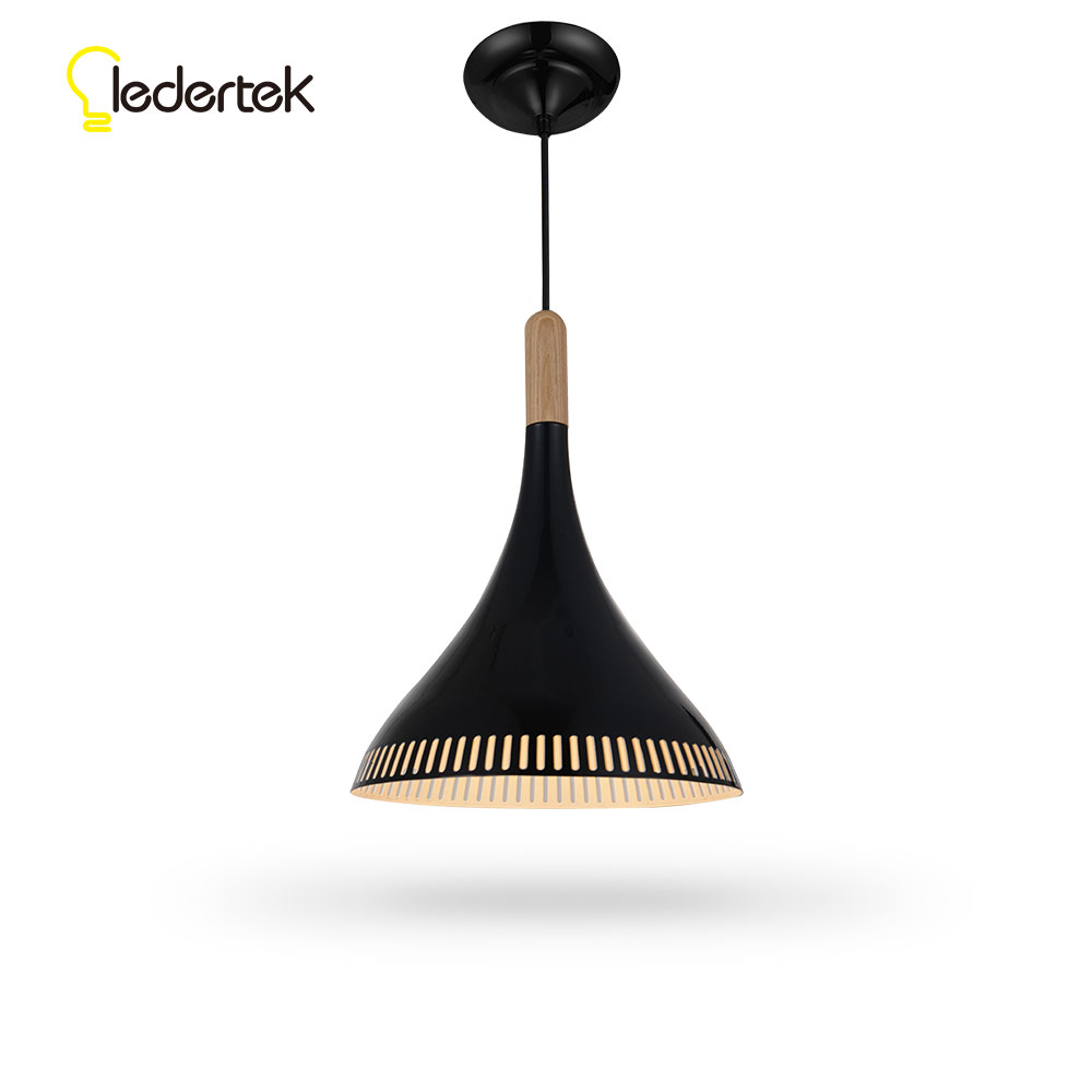 LEDERTEK New Wooden Iron Lampshade LED Bulb Bedroom Kitchen E27 Pendant Lights Nordic For Home Lighting Modern Hanging Lamp nordic wood pendant lights for home lighting modern hanging lamp wooden lampshade led droplight bedroom kitchen light fixture