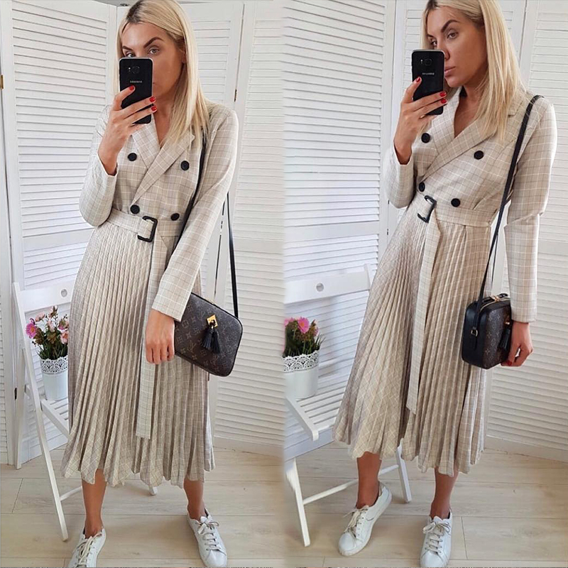 BerryGo Autumn winter women blazer dresses vestidos Pleated plaid long dress elegant Office ladies high waist belt female robe 3