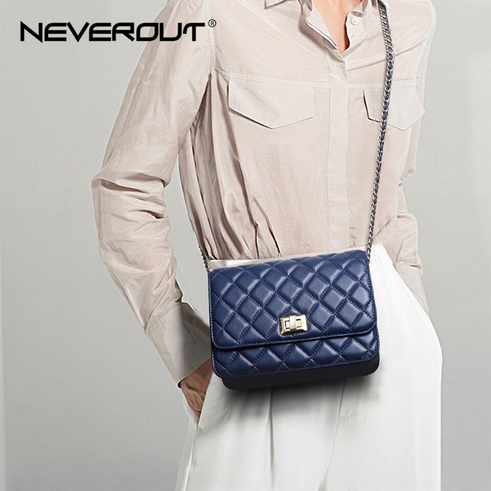 NEVEROUT Ladies Sheepskin Flap Bag Diamond Lattice Real Leather Crossbody Bag Luxury Handbags Women Bags Quilted Shoulder Sac