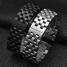 High Quality Butterfly Clasp Watchband 18mm 20mm 22mm 24mm Stainless Steel Watch Band Strap Men Silver Gold Bracelet Solid Link цены