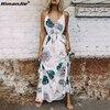 HimanJie Vintage Summer Dress Women Sundress Hollow Out Boho Floral Print Maxi Dress 2017 Beach Dress