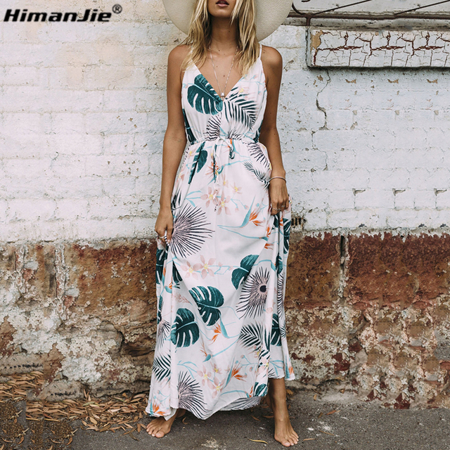 HimanJie Vintage summer dress women sundress Hollow out boho floral print maxi dress beach dress Strappy vestidos de festa