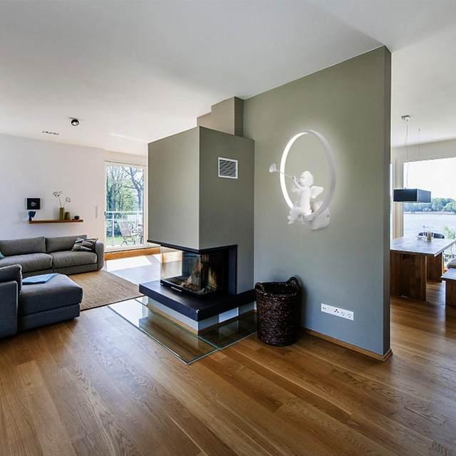 Moderne 18 Watt LED Wandleuchte Art Angel Kreative Neben Wandleuchte Innen  Wohnzimmer Esszimmer Flur Caffe Beleuchtung Dekoration