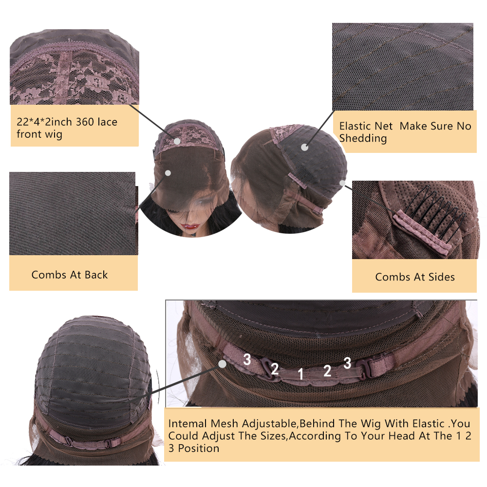 Allrun Μηχάνημα Made Front Μαλλιά Περούκες - Ανθρώπινα μαλλιά (για μαύρο) - Φωτογραφία 5