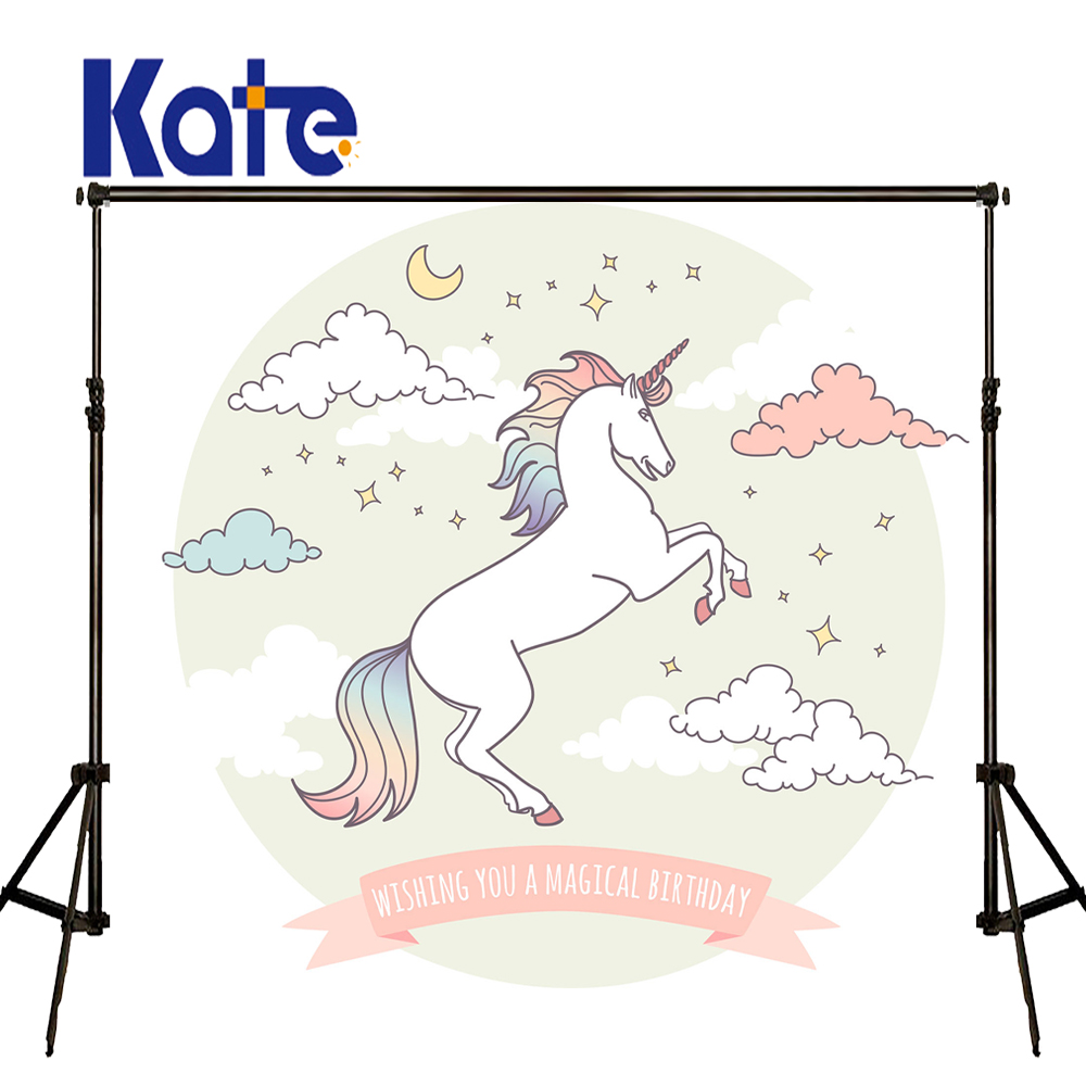 KATE Photography Background Kids Cartoon Backgrounds Children Unicorn Backdrop Newborn Birthday Photography Props for Studio vinyl floral flower newborn backdrops cartoon unicorn photography background studio photo props 5x3ft