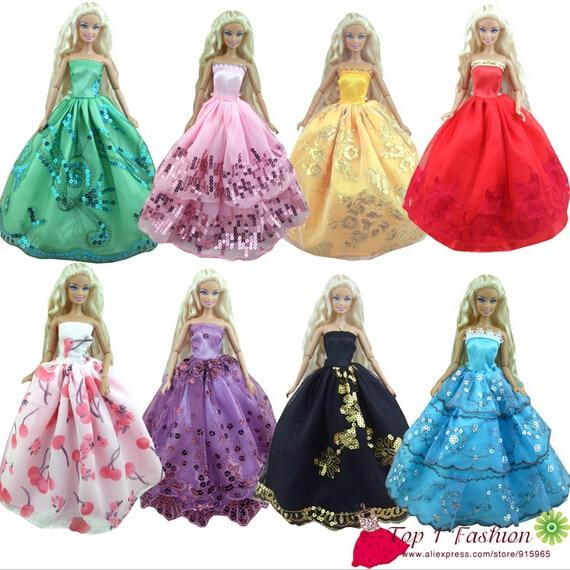 Baby girl uşaq doğum günü hədiyyəsi 5pcs Doll 'ın gəlinlik paltarı Barbie kuklası üçün geyim paltarları