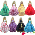 Baby girl kids birthday gift 5pcs dress Doll' s wedding bride Dress Clothes Gown dress For Barbie doll