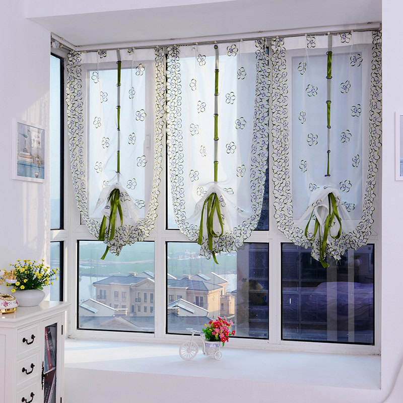 Embroidered Voile Roman Curtains Gauze Tulle Sheer Window Screening Light Through For Kitchen