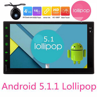 2din Auto Dvd-speler Android5.1 Quad Core touchscreen autoradio HD1080P Video GPS Screen Mirroring auto 2din gps navigatie camer