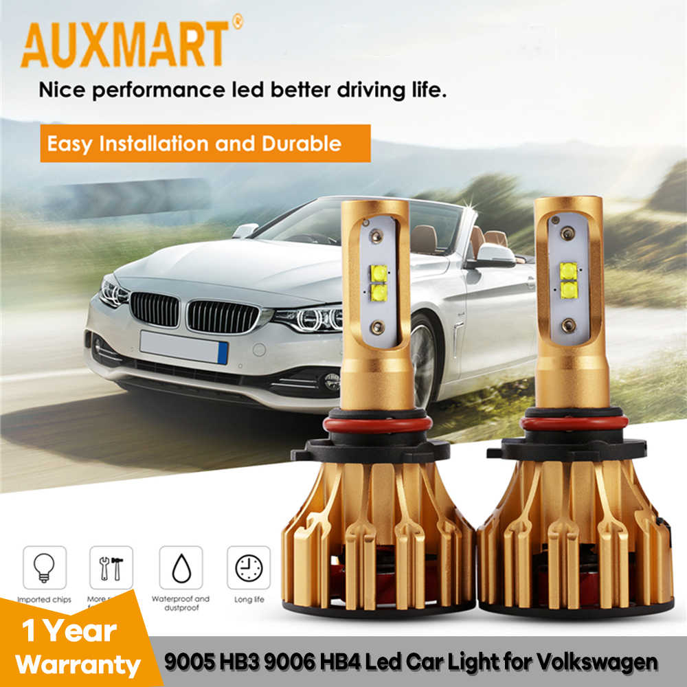 Auxmart Car LED Light 9005 HB3 9006 HB4 for Volkswagen Goif/GT/ Passat LED Headlight kit 70W 7000lm LED Lamp 12v 24v HB 3 4