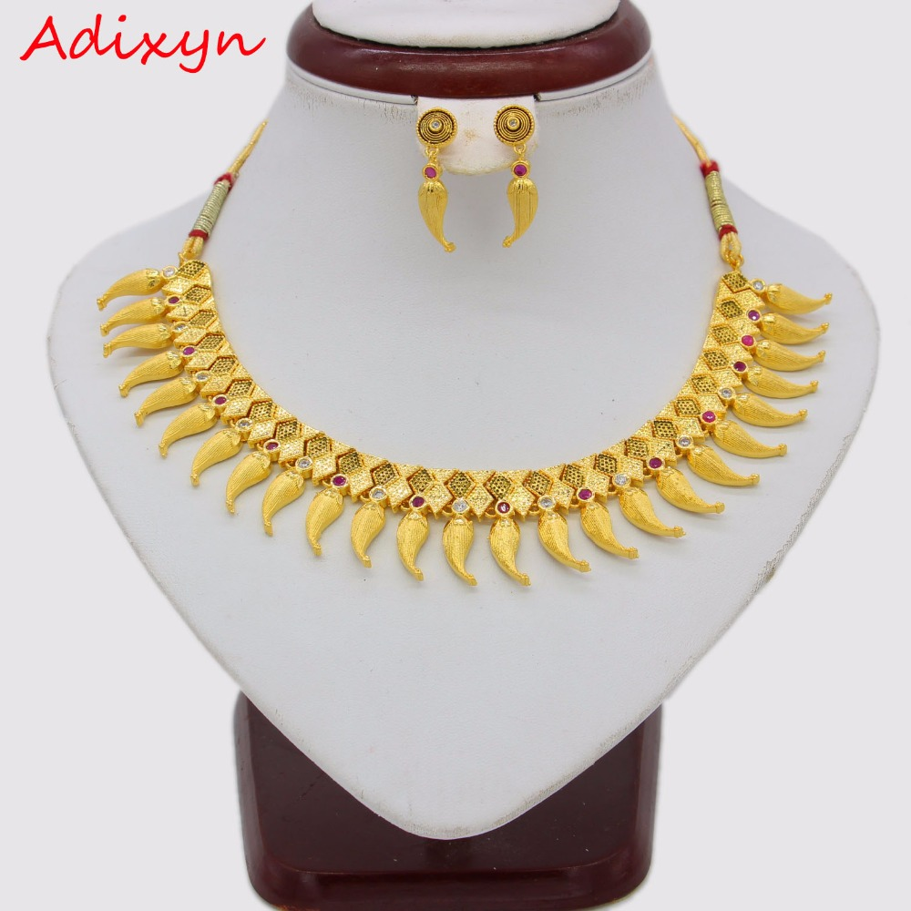 Adixyn NEW Pepper Desigh Necklace/Earrings Jewelry Set For Women Gold Color/Copper Ethiopian Arabic India Items цена