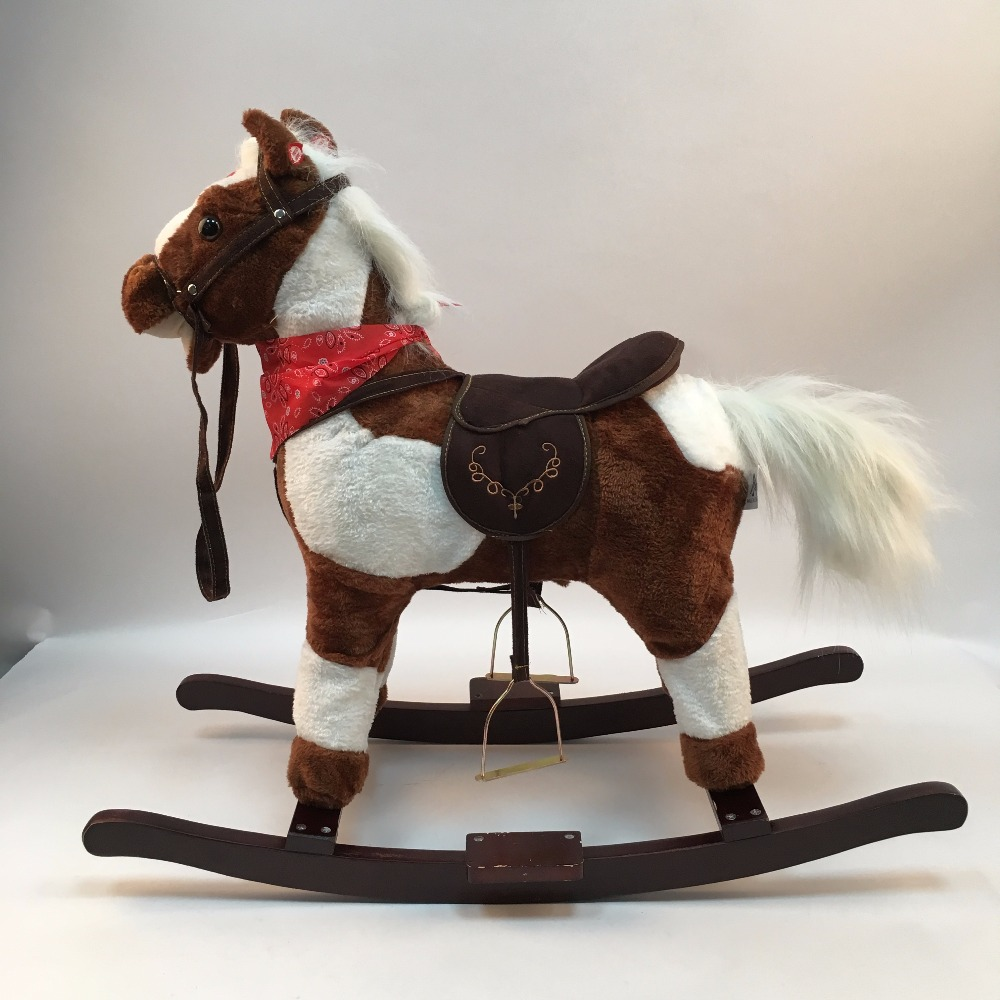 HAPPY ISLAND Amusement Walking Horse Toys Wooden Music Rocking Horse Indoor And Outdoor Ride On Horse Toy For Baby Kids Teenager in Ride On Animal Toys from Toys Hobbies
