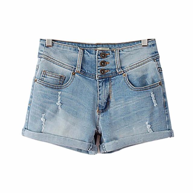 Tengo 2017 de moda de nova 3 botões casual elastic cintura alta mulheres Shorts Jeans Soltos para As Mulheres Plus Size calças de Brim curto