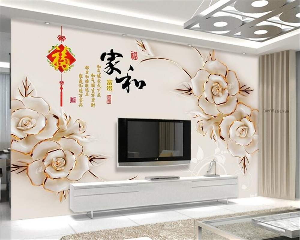 Supérieur Coeur Photo Mur #9: Beibehang 3d Papier Peint Maison De Secours Et Riche Coeur 3d Fond Mur  Salon Chambre TV Fond Peint Photo Papier Peint