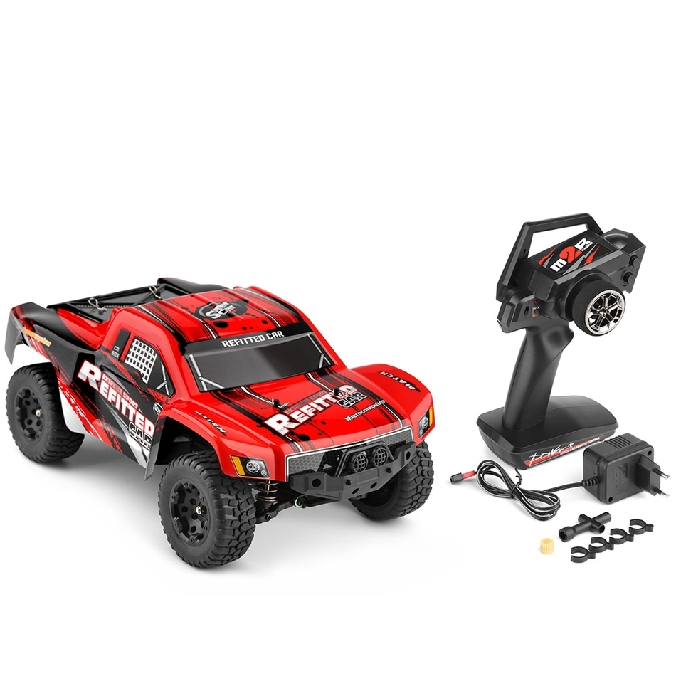 Wltoys A313 1:12 Scale 2.4G 2WD 35km/h High power 390 motor Rechargeable Shockproof RC Short Truck Off-road Car RTR huanqi 739 high speed rc cars 1 10 scale 2 4g 2wd 42km h rechargeable remote control short truck off road car rtr vehicle toy