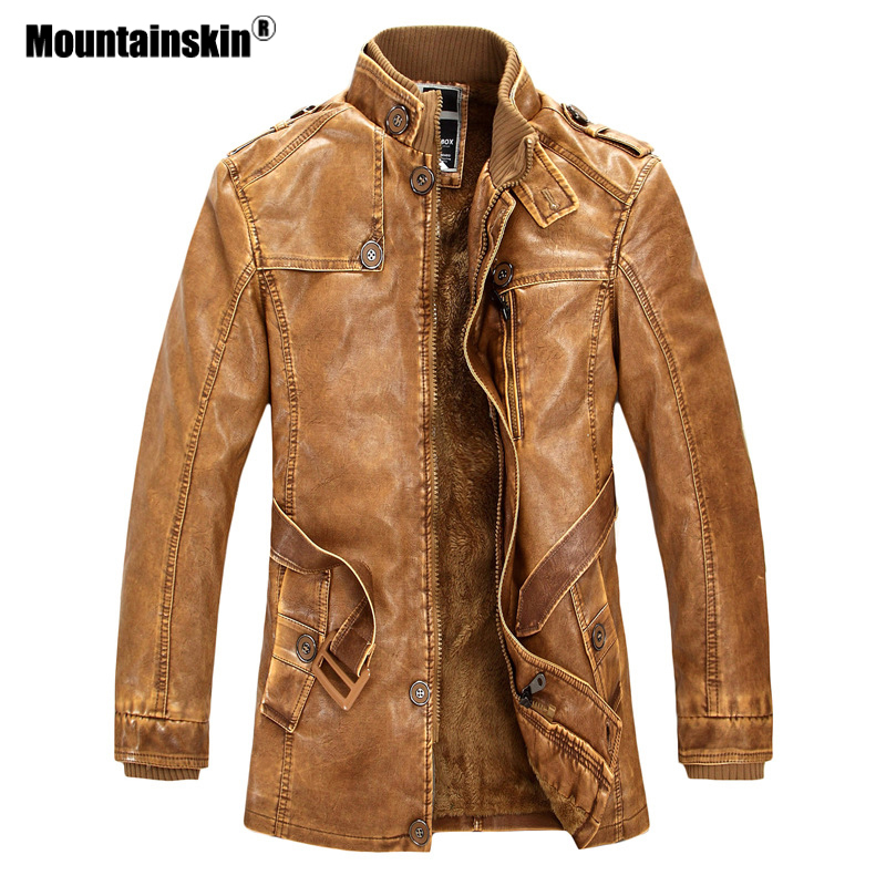 Mountainskin Winter Men s PU Jacket Motorcycle Coats Thick Fleece Warm Outerwear Slim Fit Male Leather