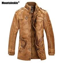 Mountainskin зима для мужчин куртка из искусственной кожи Куртки мотоциклиста толстый флис теплая верхняя одежда Slim Fit Мужской кожаная брендовая одежда SA557