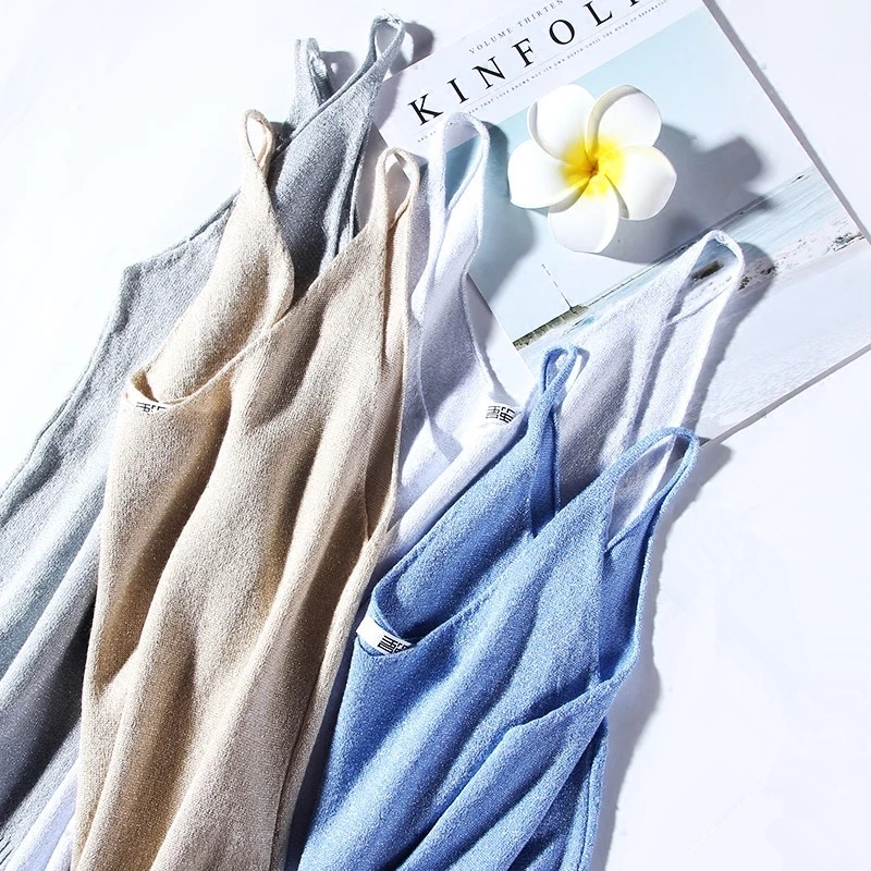 Slim Sexy V-neck Knit Shiner Base Shirt Gallus Waistcoat 9