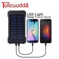 Tollcuudda 10000mAh Solar Power Bank Dual USB Power Bank Waterproof Powerbank Bateria External Portable Solar Panel